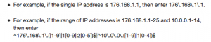 Google Support example for filtering IP addresses.