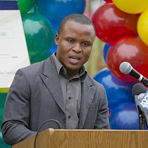 William Kendima, ITWorks graduate speaks at ceremony.