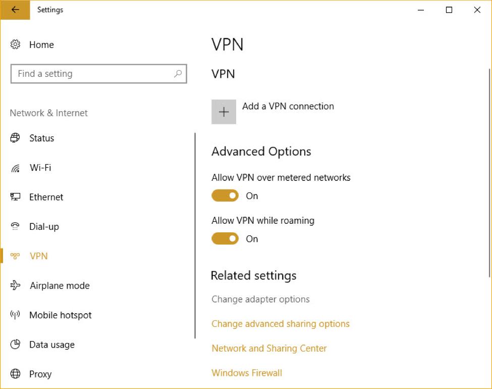 Screenshot of VPN screen in computer settings